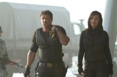 With Sylvester Stallone in Simon West's THE EXPENDABLES 2 (2012)